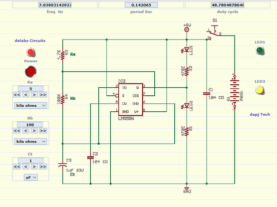 Astable Multivibrator with 555