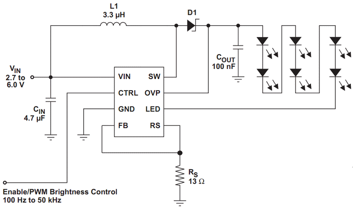 LED Drive using TPS61042