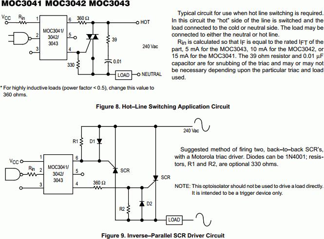 MOC3041 Zero Crossing Triac Output